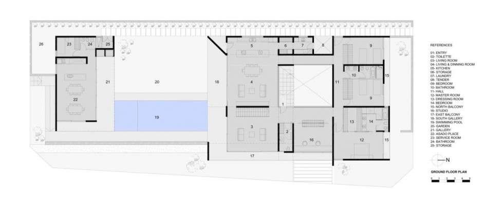 Modern House Concrete Exterior Stone Base Sobrino
