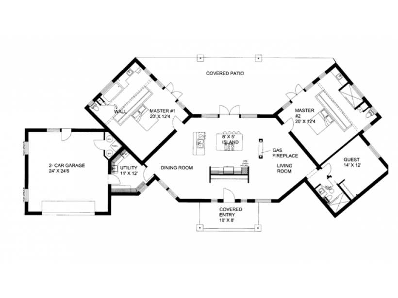 Modern House Plan Contemporary Ranch Dual Master Suites