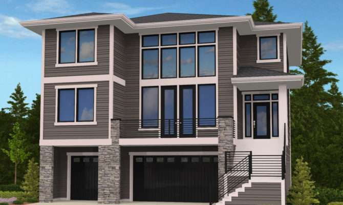 Modern House Plan Front Sloping Lot
