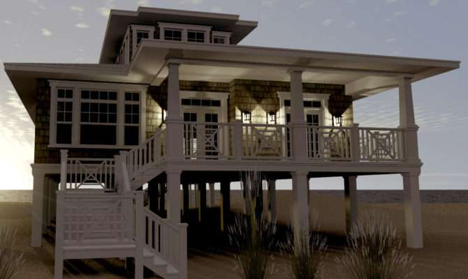 Modern House Plans Stilts Plan Elevated Beach Pilings