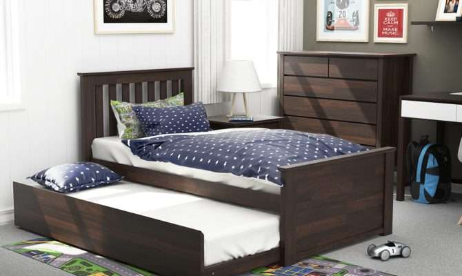 Modern Kids Single Trundle Bed Chocolate Brown