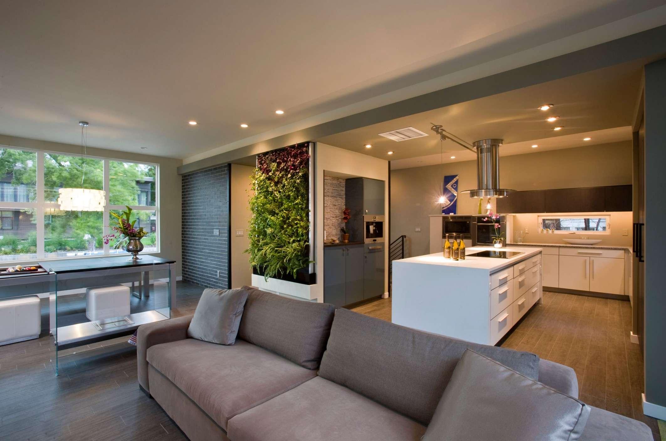 Modern Open Plan Living Room White Kitchen Island