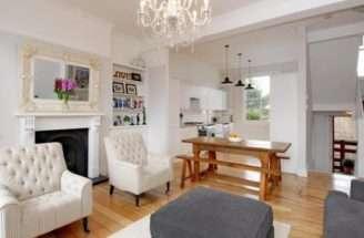 Modern Open Plan Quaint Small Beige Grey White Living Room