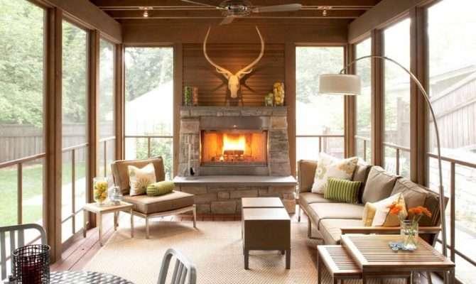 Modern Screened Porch Fireplace