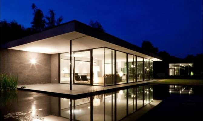 Modern Single Story House Design Lighting Ideas Night Sliding