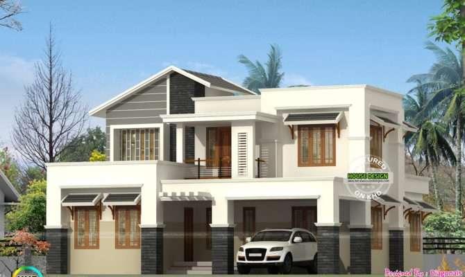 Modern Slanting Roof Mix Home Architecture Kerala Design