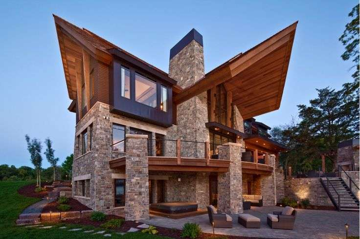 Modern Wood Stone Home Why People Love Architecture