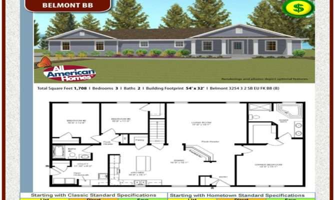 Modular Home All American Homes Ranch Collection Belmont Plan