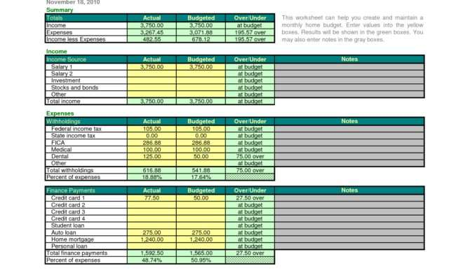 Monthly Home Budget Excel Wan - Architecture Plans | #52195