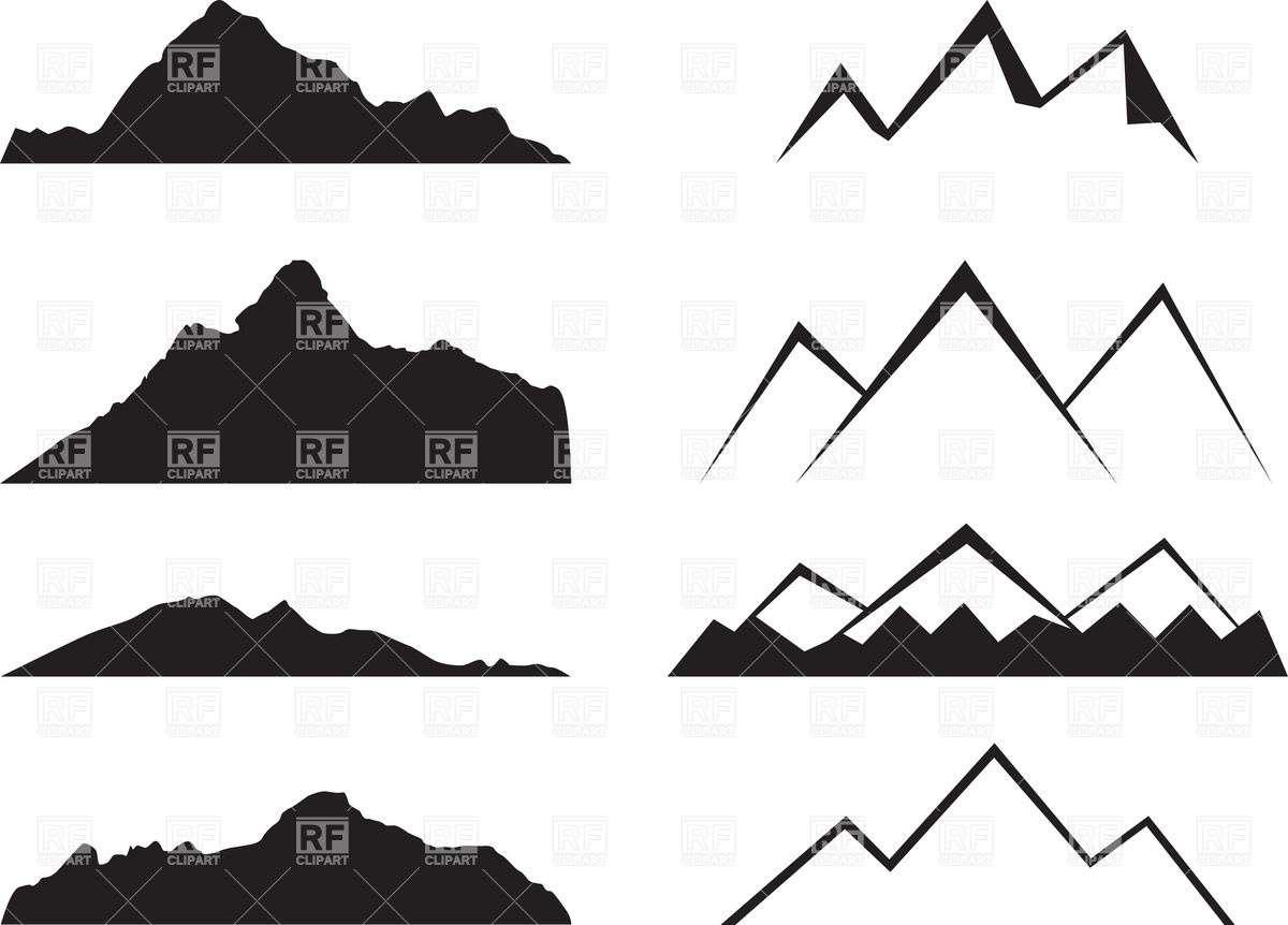 Mountain Clipart Simple Pencil Color