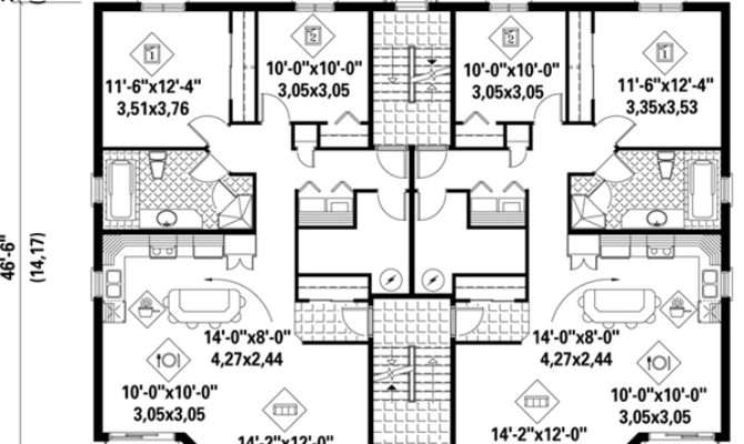 Multi House Plans Plex Home Floor