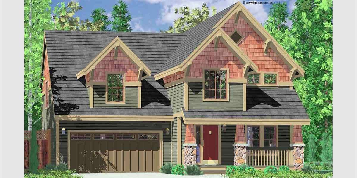 Narrow Lot Craftsman Style House Plans New