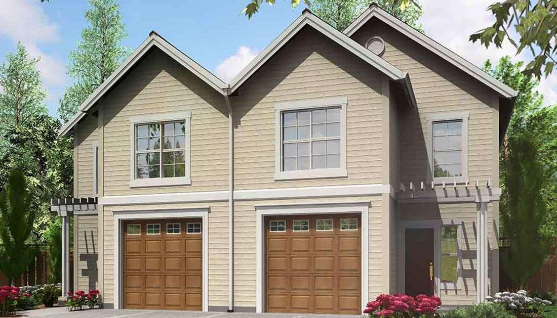Narrow Lot Duplex House Plan Architectural
