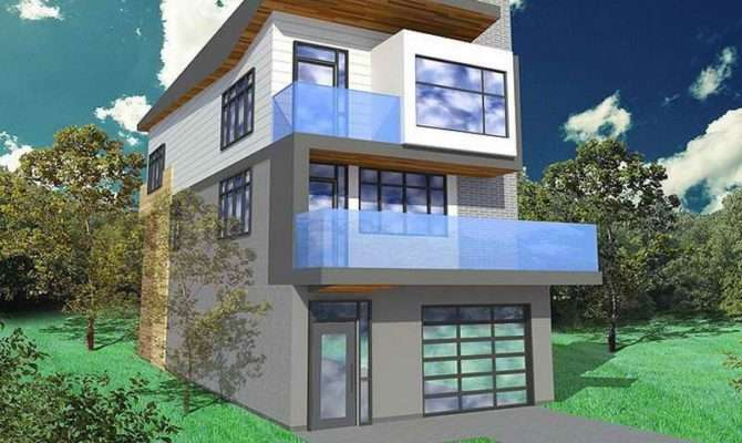 Narrow Lot Floor Plans Contemporary Open Modern Home