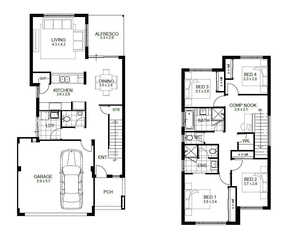 Narrow Two Story House Plans Escortsea