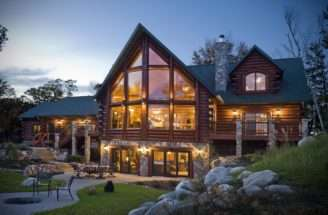 Natural Log Cabin House Neoclassical Architecture Home Design