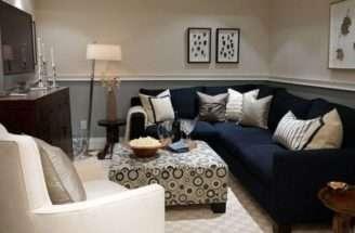 Navy Blue Shaped Sofa Contemporary Table Lamp Small Basement