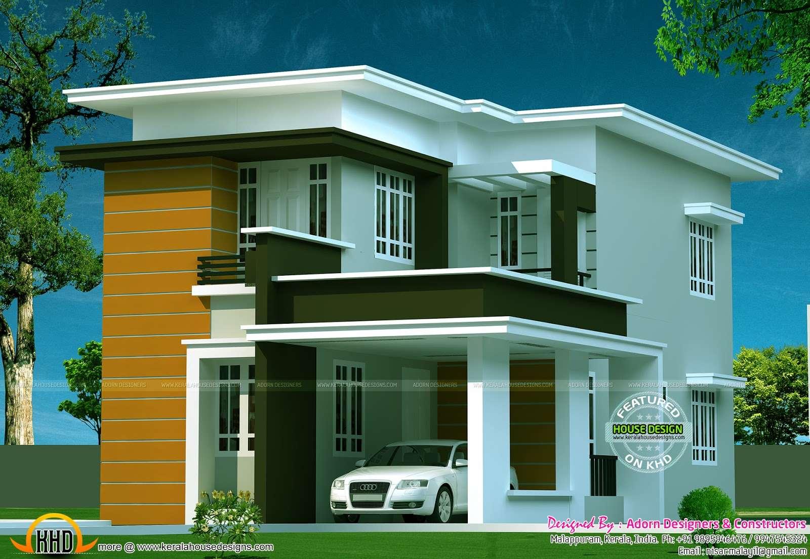 New Flat Roof House Kerala Home Design Floor Plans
