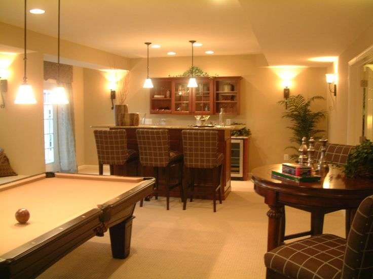 Nice Finished Basement Layout Bar Pool Table