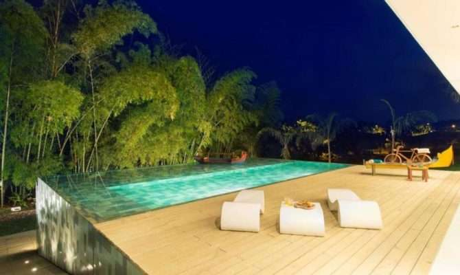 Nice Houses Pools Night Creating Beautiful Outdoor Living Room