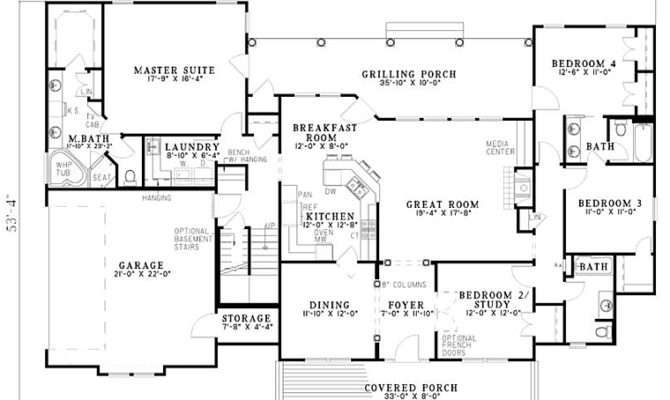 One Level Bedroom House Plans First Floor Plan Country