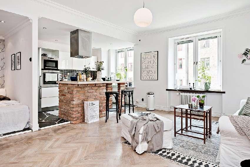 One Room Apartment Kept Spacious Scandinavian Design