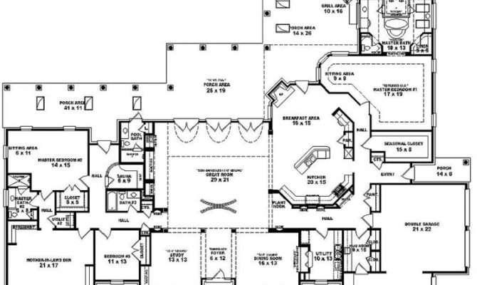 One Story Bedroom Bath Mediterranean Style House Plan