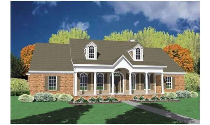One Story Brick Houses Eplans Neoclassical House Plan Alluring