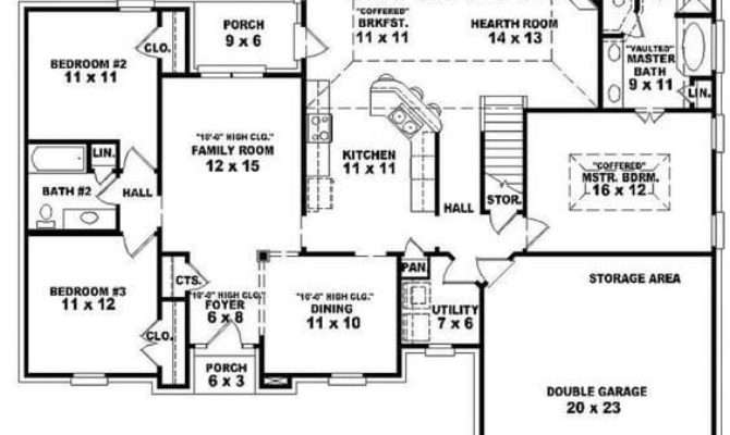 One Story House Plans Bedrooms New Single