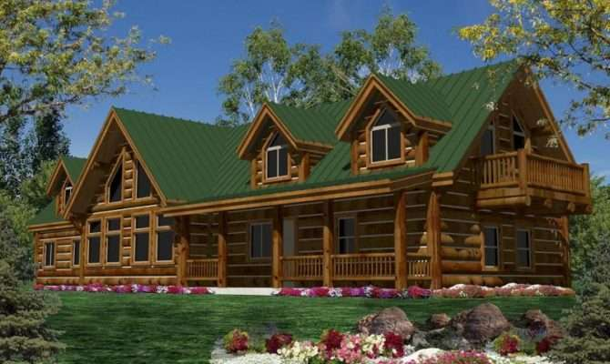 One Story Log Home Plans Kodiak Model