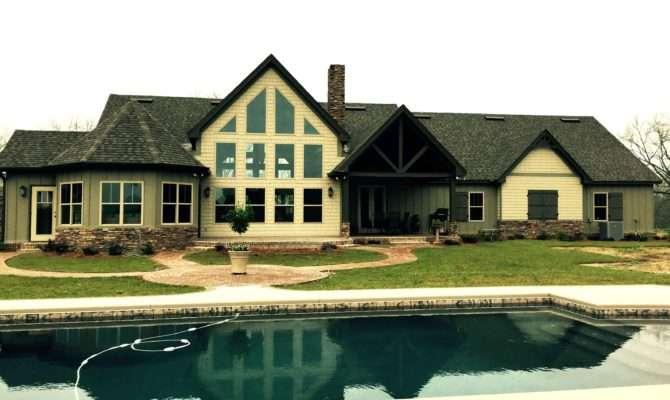 One Story Rustic House Plan Design Alpine Lodge