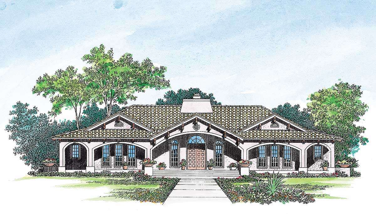 Open Courtyard Dream Home Plan Floor Master