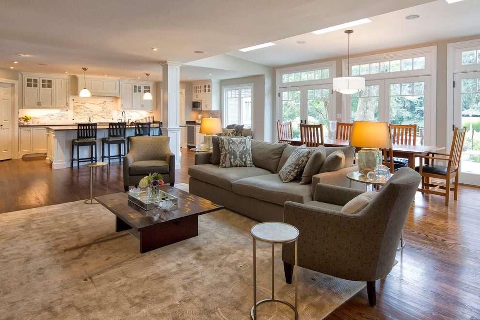 Open Floor Plan Flooring Living Room Traditional