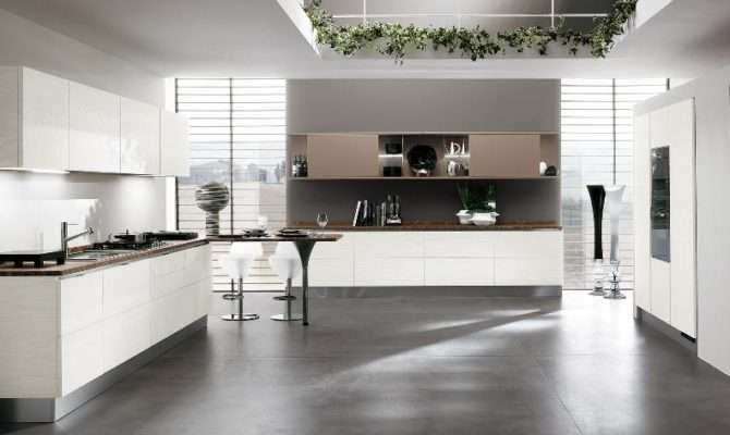 Open Kitchen Space White Cabinets Interior Design Ideas