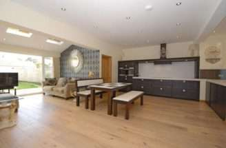Open Plan White Maple Dining Room Kitchen Living