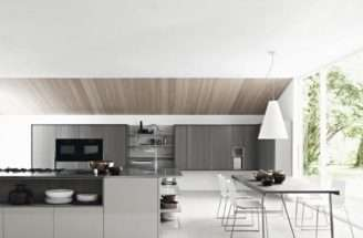 Open Space Kitchen Glass Wall White Modern Decoration