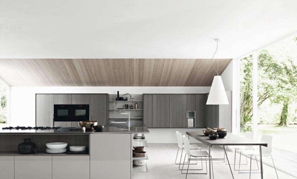 Open Space Kitchen Glass Wall White Modern Decoration