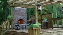 Outdoor Wood Deck Designs Fireplace