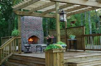 Outdoor Wood Deck Designs Fireplace