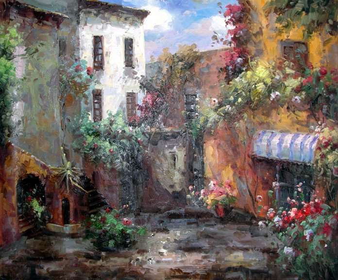 Paintings Drawings French Country Courtyard Original Oil Painting