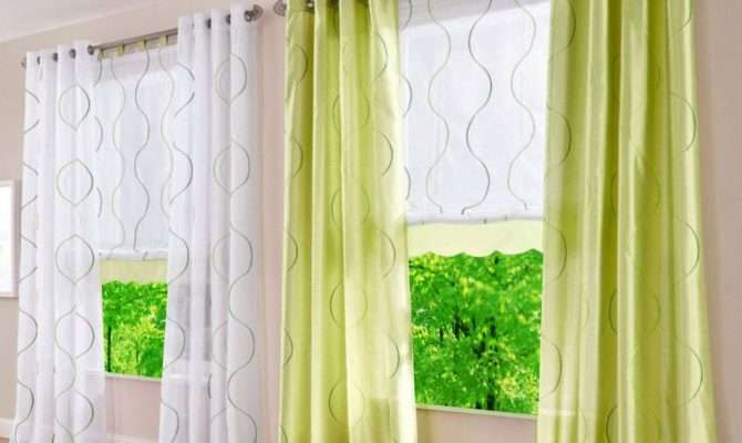 Pcs Grommet Windows Curtains Sheer Fabric Wave Printed