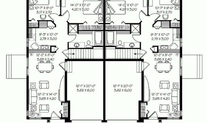 Perfect One Story Duplex House Plans