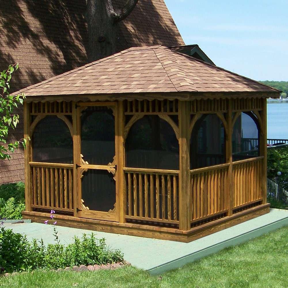 Pine Rectangle Amish Gazebo Outdoor Furniture