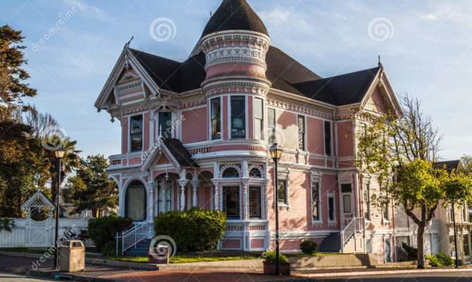 Pink Victorian House Editorial