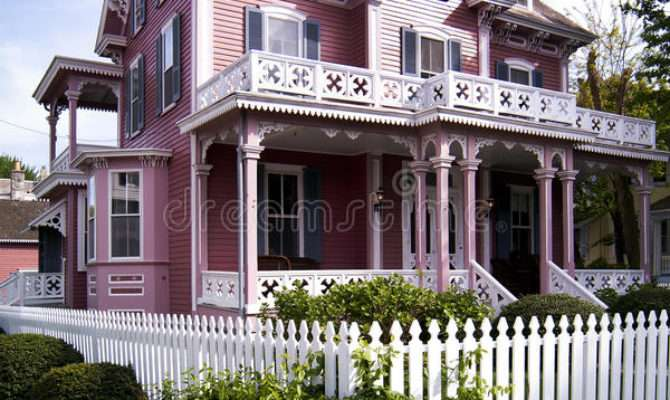 Pink Victorian House Porch White