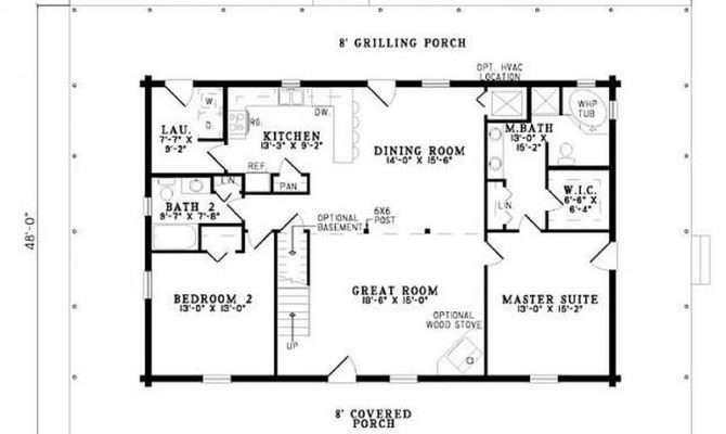 Plan Bedroom Bath Log Home