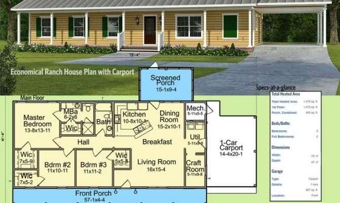 Plan Nck Economical Ranch House Carport