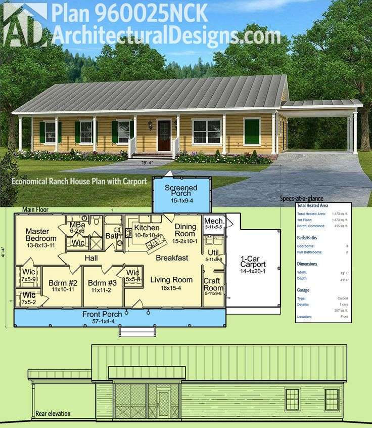 Plan Nck Economical Ranch House Carport