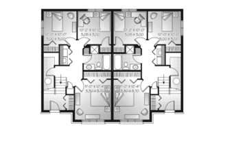 Plans American House Basement Home Garage