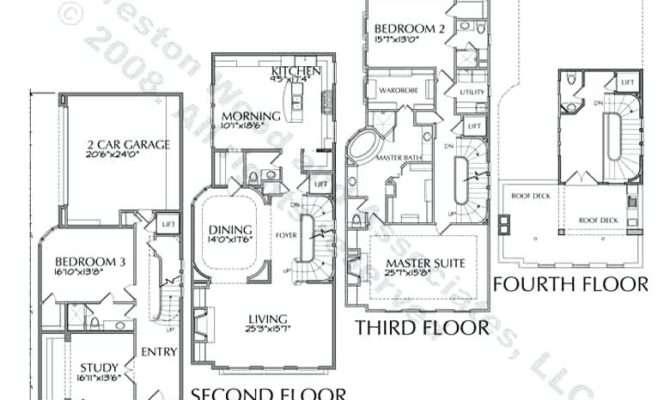 Plans Luxury Townhouse Story Floor Bedroom Modern